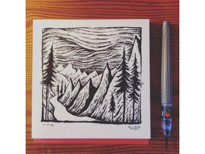 Winter on the Horizon  sketchbook india-ink illustration 2d