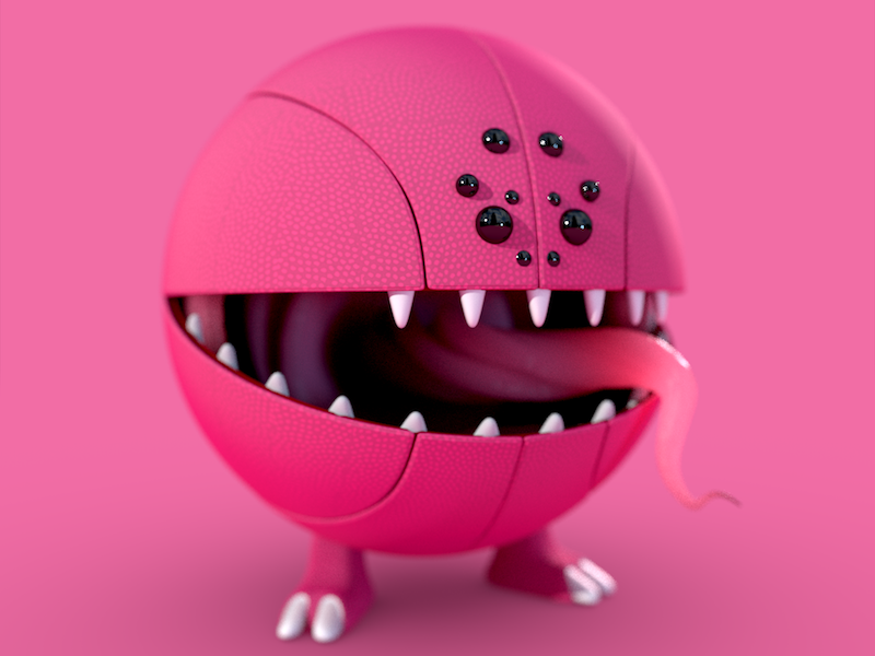 Dribble Monster!  debut tongue eyes spider design drafted post first character monster 3d