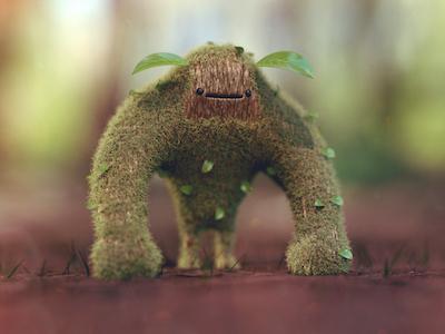 Woodland Spirit macro adobe cinema maxon 3d design nature grass bunny leaves leaf creature