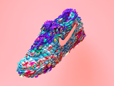 AirMax Organic  photoshop cinema maxon nike bubble swoosh stylized 3d art shoe max air