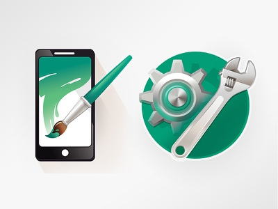 AlsterCloud Icons brush green stroke phone wrench gear maintenace ux design