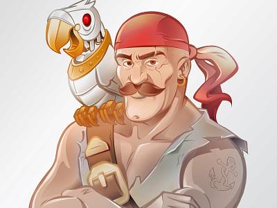 Pirate Character Design steampunk pirate parrot robot belt tattoo clip beak mustache earring