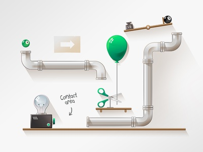 AlsterCloud.de Processes Illustration balloon pipes billiard ball light bulb scissors weight machine cartoon alster cloud