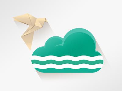 AlsterCloud Welcome Screen Illustration cloud green river water wave alster hamburg bird paper origami