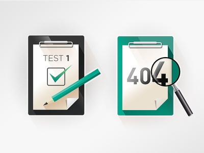 AlsterCloud Icons magnifier pencil check sign paper board acceptance test error 404
