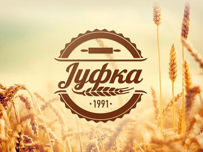 Jufka Logo wheat rolling pin field badge vintage vector logo cyrilic