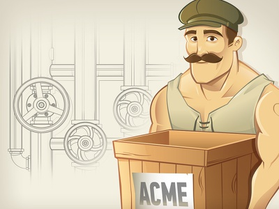 Worker Character Design valve pipe box acme worker hat mustache vector illustration character