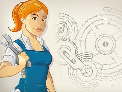 Worker Girl Character Design gear watch mechanism wrench girl worker blonde vector illustration character design