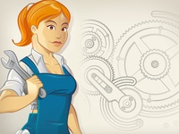 Worker Girl Character Design