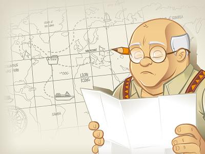 Engineer Character Design map sea boat ship glasses pencil plan vector engineer illustration old man
