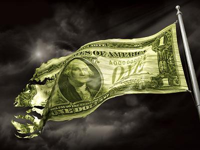 Dollar Flag dollar flag dark ripped clouds wind poster theatre