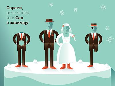 Dream of a Homeland illustration character wedding bride bone groom snow cake hat homeland mustache theater