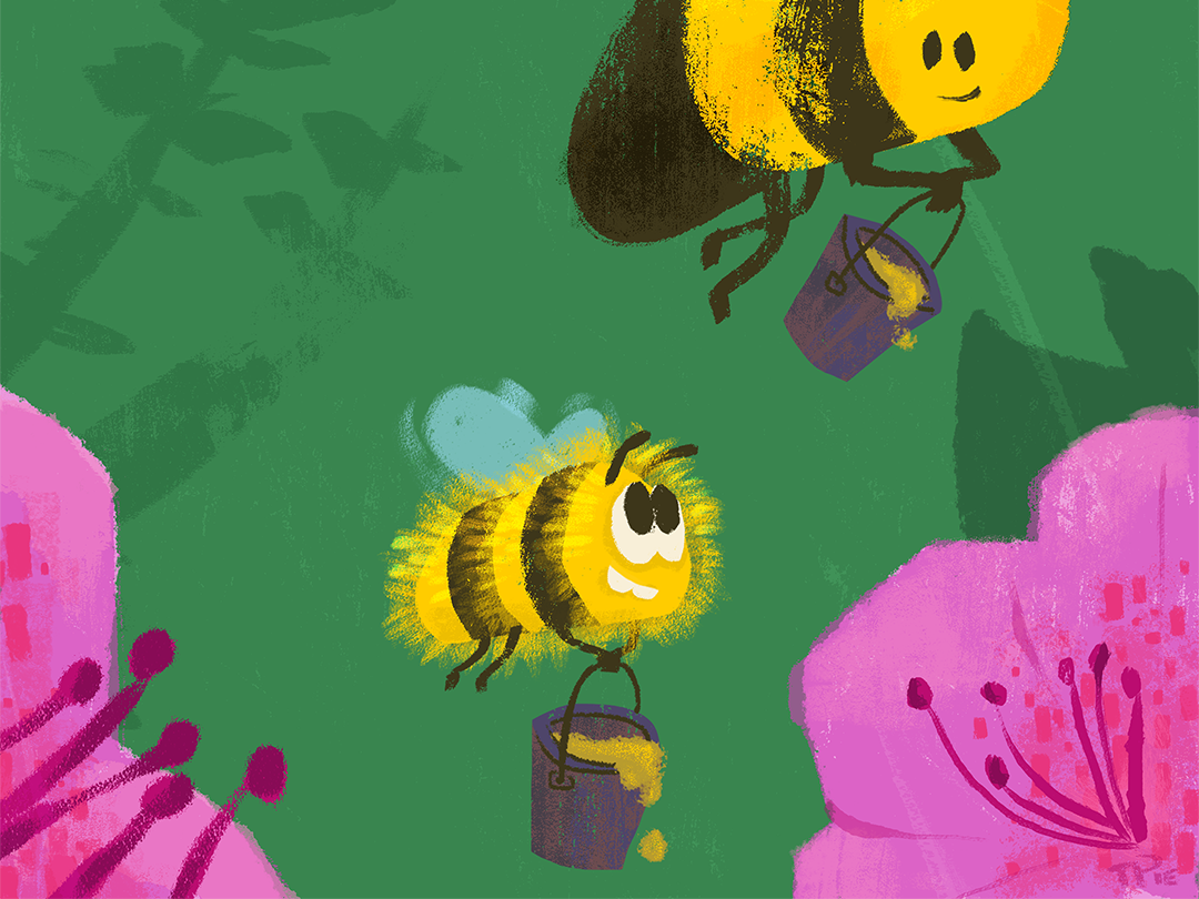 Take Your Kid to Work Day childrens book style bee hive summer spring brushstrokes painterly illstration plants honey flowers work kid bee