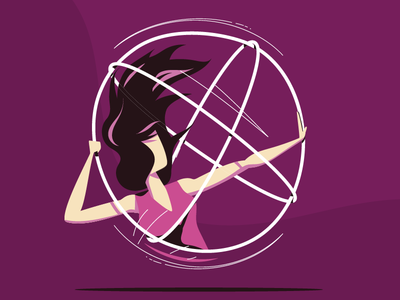 Hoop Touch 2017  athlete hair violet sport dance woman flat vector silhouette girl astral hula hoop