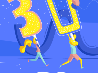 30's Birthday - Zoom ! illustrator 30 happy little people invitation card gift birthday