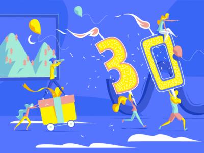 30's Birthday ! little people invitation illustrator happy gift card birthday 30