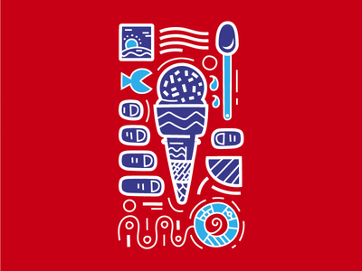 The Ice Cream Survival red pattern drops tears post stamp hand spoon life buoy fish ice cream