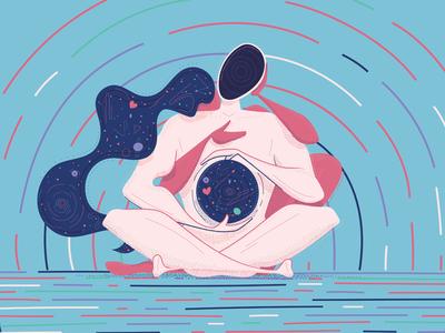 Peace of Minds phylosophy lines planets stars balanced beautiful universe communication harmony couple love