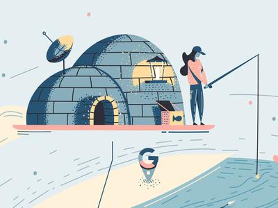 """Appy Travel"" trip luxury north pole fish satellite fisherman igloo illustrator editorial magazine house notes"