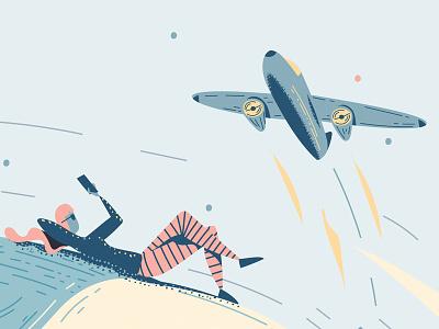 """Appy Travel"" 2 girl phone magazine luxury illustrator plane house notes fisherman fish editorial"