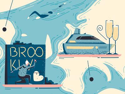 """Appy Travel"" 3 champagne tag magazine luxury illustrator graffiti house notes boat swim editorial"