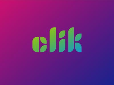 Killed custom clik type custom type clik click branding gradient typography logotype logo