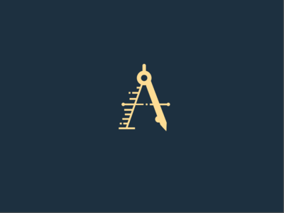 A Compass drawing drafting architecture compass motion shading illustration letter icon a