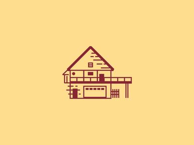 Architecture Illustrations deck building icon home architecture midcentury house illustration