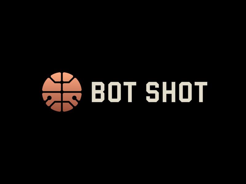 Bot Shot Logo icon logotype copper circuit shot basketball robot logo