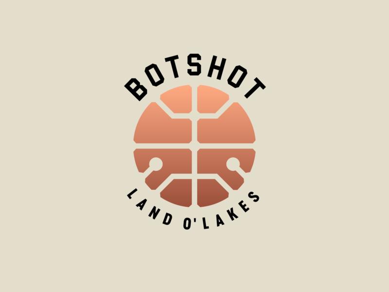 Bot Shot Secondary Logo shot seal badge copper circuit basketball robot logo
