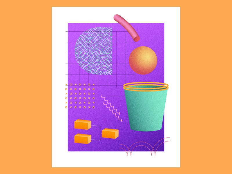 March Radness — Purple hoops 90s vintage throwback retro rad sports basketball geometric composition 80s 3d
