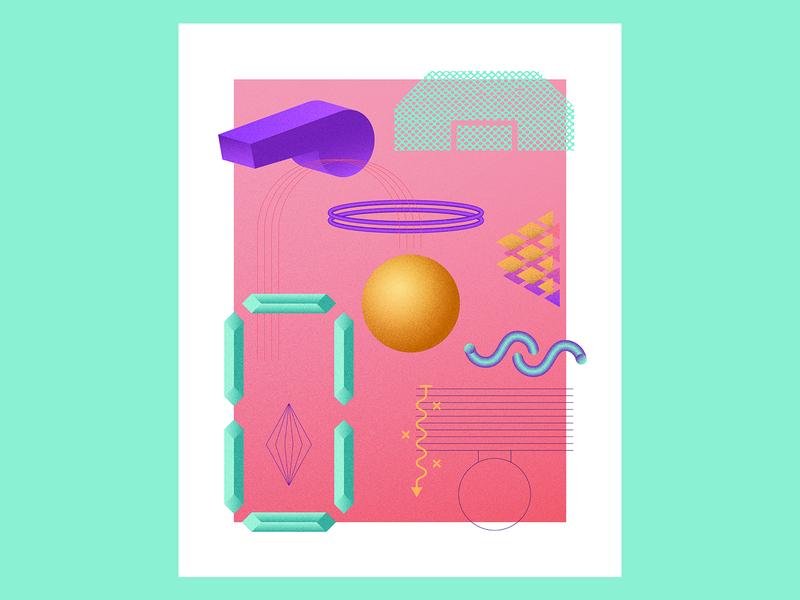March Radness — Pink vintage throwback sports retro rad geometric illustration geometric composition basketball 80s 3d