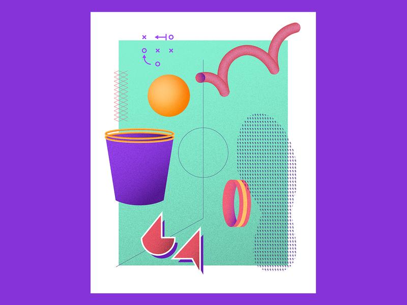 March Radness — Aqua hoops 90s vintage throwback geometric illustration 80s geometric rad retro basketball sports 3d