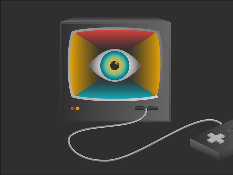Podcast Illustration #1 eye tv controller retro scifi esports gaming television podcast illustration