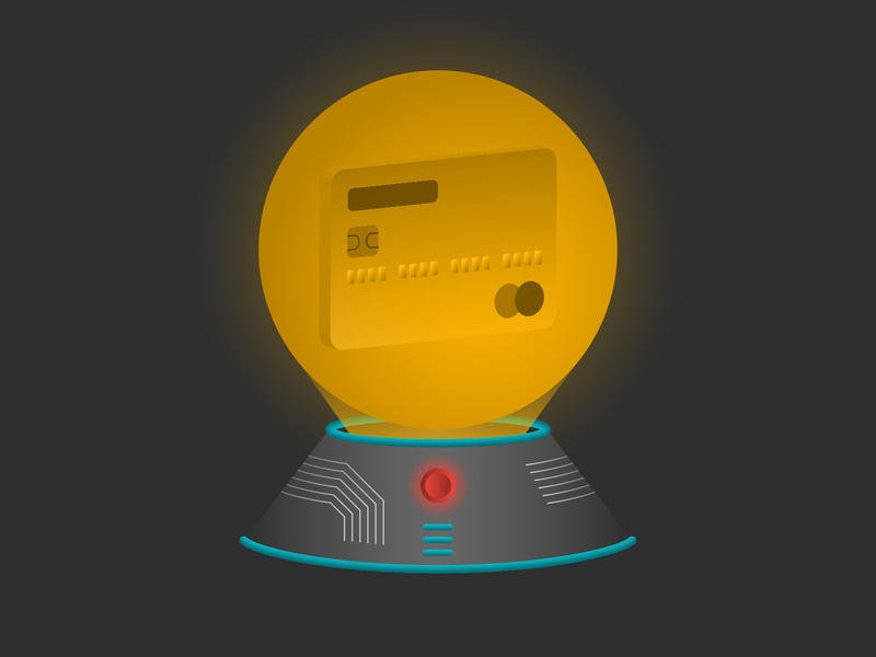 The Future of Retail credit card technology crystal ball illustration podcast scifi future