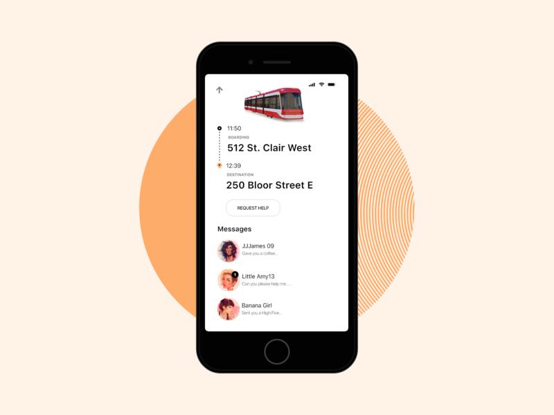 Commuto - Transit Mobile AR App [WIP] uber gps orange userinterface ui bus app mobile ios public transportation public transport transit public transit clean metro ttc subway streetcar