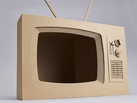 Retro, cardboard TV - built