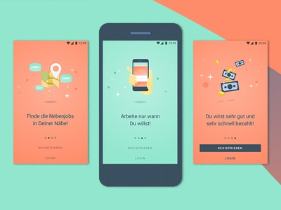 zenjob android app – intro screens illustration feed jobs material design android goodpatch zenjob ui