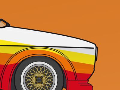 VW Golf I silhouette detail  vw volkswagen rennsport vector racing bbs illustration golf flat detail car