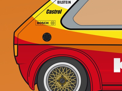 VW Golf I silhouette detail  vw volkswagen vector rennsport racing illustration golf flat detail car bbs