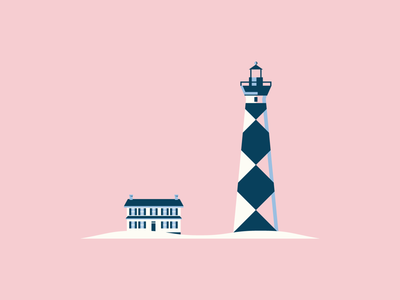 Cape Lookout blue outer banks north carolina beach house beach lighthouse vector illustration pink minimal design