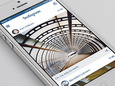 Instagram for iOS Concept (PSD) instagram ios concept psd freebie free mockup template iphone