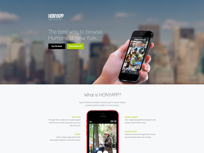 Humans of New York App Landing Page humans ui ios web landing marketing unbounce simple iphone new york 5s 5c
