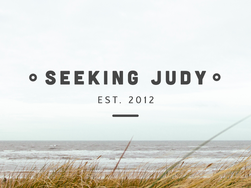 Seeking Judy Branding typography font clean minimal beach simple water yellow blue clouds
