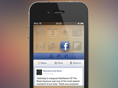 Facebook Widget Concept (PSD) facebook mobile ios apple app widget concept freebie psd photoshop