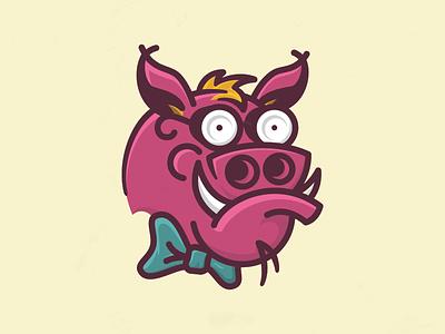 Farsighted Boar pig bow tie fun illustration boar glasses