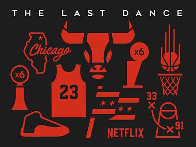 The Last Dance nba poster nba basketball logo basketball netflix icon design icon set icon icons michael jordan chicago bulls chicago sports vector illustration branding design animal logo