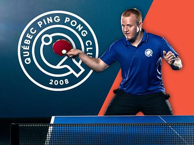 QUEBEC PING PONG CLUB LOGO apparel design apparel sports logo tabletennis table tennis ping pong pingpong typography mark vector branding logo