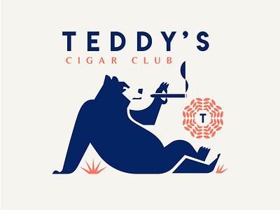 Teddy's Cigar Club minimal character vector illustration mascot branding symbol design animal logo