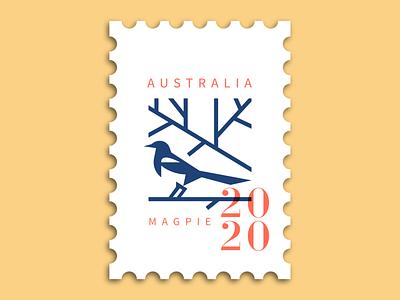 Magpie Stamp bird logo stamp design typography symbol branding character illustration mascot stamp magpie animal logo